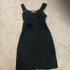 Back Bra Top Bodycon Dress with faux front wrap
